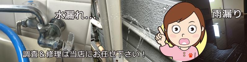 水漏れ、雨漏りの調査と修理は当店にお任せ下さい